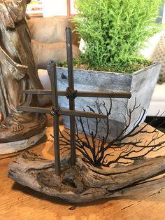 KS Double Metal Cross on Driftwood Seaside Home Decor, Newport Beach, Driftwood, Firewood, Artisan, Metal Crosses, Texture, Crafts, Faith