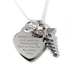 A Nurses Prayer Sterling Silver Heart Necklace Personalised/Engraved via Etsy