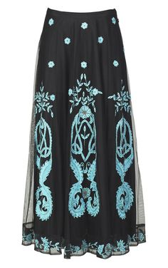 Turquoise flourish skirt, Crow's Nest Trading Co.