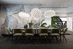 Contemporary Dining Room Lighting, Contemporary Decor, Contemporary Apartment, Modern Decor, Dining Room Walls, Dining Room Design, Hall Interior Design, White Wall Decor, Luxury Dining Room