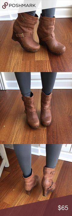 UGG Tan Leather Wedge booties UGG wedge Booties- EUC- tan leather, wood wedge, there is a scuff on the wood of the right front toe area as showing on the picture, 4' heel, 1.25' platform, size 8. UGG Shoes Wedges