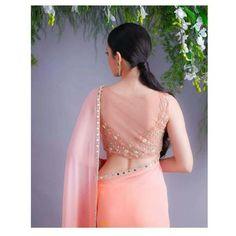 Peach Pink Mirror Work Saree with sheer saree blouse back design. Peach Pink Mirror Work Saree with sheer saree blouse back design. Saree Blouse Neck Designs, Silk Saree Blouse Designs, Fancy Blouse Designs, Designer Blouse Patterns, Designer Dresses, Designer Sarees, Saris, Silk Sarees, Cotton Saree