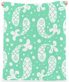 Bubble Fish Green Mint Print LINEN BEACH TOWEL, by Mina Miyaki from Print All Over Me