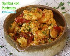 gambas con pimientos al pimentón Potato Salad, Cauliflower, Seafood, Recipies, Vegetables, Cooking, Ethnic Recipes, Rice, Appetizers