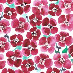 watercolor red summer flowers fabric by katarina on Spoonflower - custom fabric