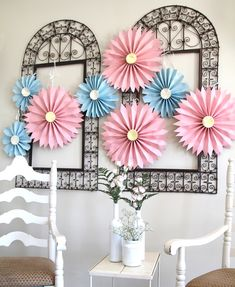 Paper Accordian Folded Medallions. This would be a fun way to dress up your house for a party.