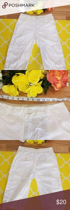 NWOT ST. JOHNS BAY CAPRIS!! NWOT St. Johns Bay white capris. These have ties at the bottom of each leg. Very light weight garment. St. John's Bay Pants Capris