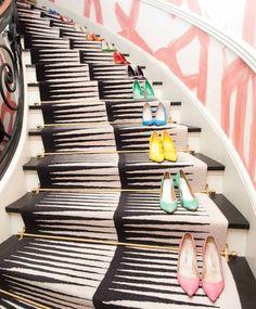 ღღ Kelly Wearstler: This area of my house is a perfect example of raw and refined that my design is based off of. The raw wallpaper works with the classic design of the staircase. Each pair gets a lot of love—I don't have a favorite! Kelly Wearstler, Manolo Blahnik, Undone Look, Stairway To Heaven, Stairways, Belle Photo, Shoe Collection, Visual Merchandising, Me Too Shoes