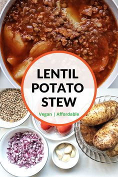 Cozy lentil potato stew made with affordable and accessible ingredients including potatoes, lentils, onion, garlic, and Roma tomatoes. A winter dish that's cozy, hearty, and packed with flavor. Make… More