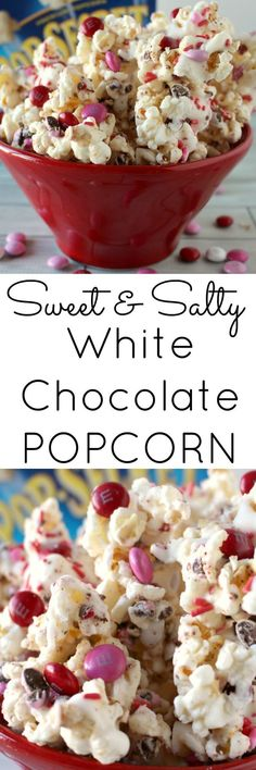 Sweet and Salty White Chocolate Popcorn with m&m's - only takes 15 minutes to make #valentine #valentinesdessert #treats #heart #hearts