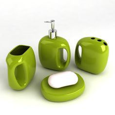 green bathroom accessories Green Bathroom Accessories, Basement Bathroom, Bathroom Inspiration, Bathroom Ideas, Kid Beds, Shades Of Green, Household, Make It Yourself, Design