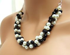 Chunky Pearl Necklace Black and White Pearl by CameronsJewelryBox