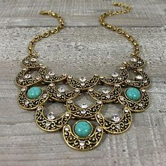 Gold Metal And Crystal Bib Necklace 2013 fashion trends