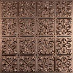 Ceilume Fleur-de-lis Faux Bronze 2 ft. x 2 ft. Lay-in or Glue-up Ceiling Panel (Case of 6)-V3-FLEUR-22BBR - The Home Depot