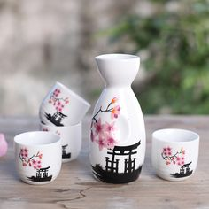 Japanese Sake Set with Four Cups Hand Painted Pink Flower porcelain Style Pottery Traditional Ceramic Crafts Wine Pot Cup