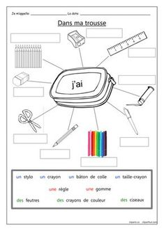 A gap-fill worksheet for practicing the names of 9 pencil case items in French. - Французька мова - Welcome Home French Language Lessons, French Language Learning, French Lessons, Foreign Language, French Tips, French Flashcards, French Worksheets, Kids Worksheets, Learning French For Kids