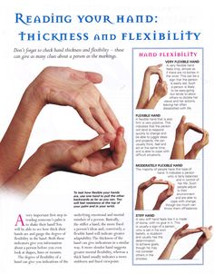 Reading your hand thickness and flexability