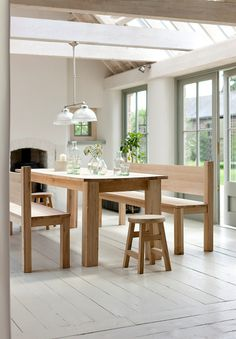 Bonsoni is proud to present this Claire Dining Table + 4 Dining Chairs + 1 Large Bench (Oak and Cream/White/Oak and Grey/Oak and White). This is a beautiful, strong, and sturdy Dining Table Sets. This Claire Dining Table + 4 Dining Chairs + 1 Oak Dining Sets, Dining Set With Bench, Solid Oak Dining Table, Oak Dining Chairs, Wooden Dining Tables, Oak Table, Dining Furniture, Dining Rooms, Kitchen Dining