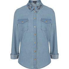 MOTO Embroidered Denim Shirt ($70) via Polyvore