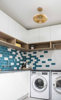 What a Laundry should be, perfect storage, accessible open shelving and a perfectly functional design, top marks all round. Laundry Room Colors, Laundry Rooms, Top Marks, California Cool, House Rules, Open Shelving, Mudroom, Home Goods, New Homes