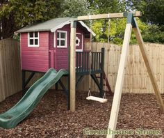 Cotswold 5x5 Tulip Tower Playhouse with Slide and Swing   http://www.greenhousestores.co.uk/Cotswold-5x5-Tulip-Tower-Playhouse-with-Slide-and-Swing.htm