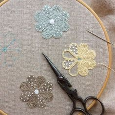 Japanese Embroidery Flowers Take almost any shape and fill it up with chain stitch. Then add some delightful French knots . French Knot Embroidery, Japanese Embroidery, Hand Embroidery Stitches, Crewel Embroidery, Embroidery Techniques, Ribbon Embroidery, Cross Stitch Embroidery, Embroidery Patterns, Contemporary Embroidery