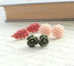 Rose Stud Earrings, Flower Studs, Resin Jewellery, Pale Pink Peach, Coral Pink Leaf, Khaki Green Rose, Shabby Chic Jewelry