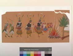 "Акварель ""Apache Devil Dance"" - Stephen Mopope (Qued Koi) - Painted Robe, Кайова. 1929 год."