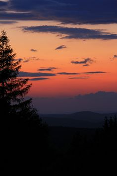 The sun has already set over the Northeastern Catskill Mountains, leaving a beautifully colored twilight sky.    --    Photo taken from Petersburg Pass State Forest in Schoharie County, New York.    --    May 24, 2012.