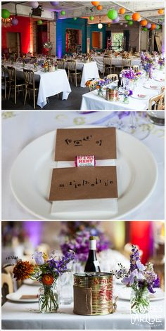 Montage images of orange, green and purple lanterns, flowers, tablescapes and wedding sweetheart favours at One Friendly Place wedding| Frances Carlisle Photography | www.francescarlisle.co.uk