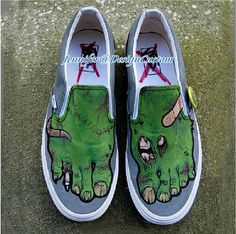 Zombie Toes Design VANS Shoes Uniqe Custom Gifts,Hand Painted Shoes,Custom Painted Shoes,Custom VANS Birthday Gifts Christmas Gifts
