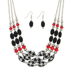 "www.judson.biz Alabama houndstooth- 16"" silver tone necklace featuring houndstooth printed beads accented by black and opaque red tone beaded decor with matching 1 1/2"" fishhook style earrings."