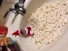 Elf on a Shelf idea!  Marshmallow bath!
