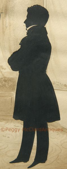 Extremely Rare Double-Sided Silhouette with Background from an Unrecorded Edouart Folio