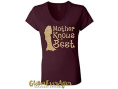 Mother knows best, listen to your mother, its a scary world out there, Mother knows best one way or another,Something will go wrong, I swear Ruffians, thugs Poison ivy, quicksand, cannibals and snakes the plague. Our Mother Knows Best shirt, is designed entirely using our flake free gold glitter, on a maroon shirt.  *************************************************************** We are proud to be a one stop shop featuring coordinating shirts, tutus, necklaces and hair accessories, making it…