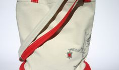 white and red hand embroidered tote bag