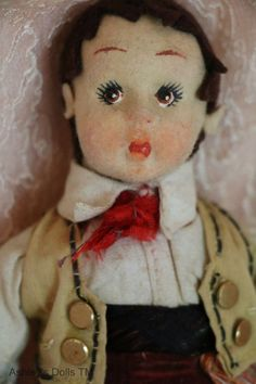Vintage Lenci Boy Doll, Felt Cloth Doll 7 1/2 IN Vintage Cloth Doll All Original