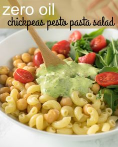 zero oil chickpeas pesto pasta salad | Vegan chickpeas pesto pasta salad recipe