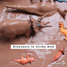Make a cool dinosaur small world for sensory play in a pool of chocolate-scented sticky mud. This will have kids engaged in imaginatve play for hours! Dinosaurs Preschool, Dinosaur Activities, Sensory Activities, Sensory Play, Sensory Bins, Dinosaur Crafts, Nursery Activities, Free Activities For Kids, Preschool Classroom