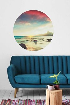 Sunset Beach vinyl wall decal gives you an instant view of the ocean. Super easy to apply and remove. Love this <3