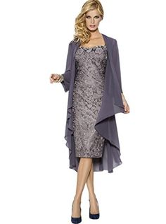 Belle House Grey Lace Chiffon Mother of Bride Dress Forma…