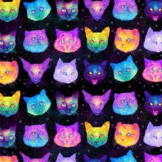 Explosão de cores psicodélicas na série 'Galactic Cats', de Jen Bartel – Página…