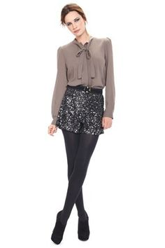 d4ffcc9f28 French Connection Lucinda sequin shorts + black tights Glitter Shorts