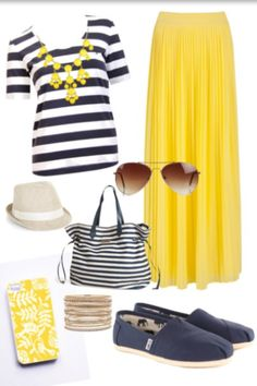 black & white stripes with yellow maxi skirt