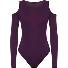 Vera Off Shoulder Bodysuit (25 NZD) ❤ liked on Polyvore featuring intimates, shapewear, body suit and purple