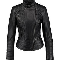 """Cigno Nero"" Black Leather Buckle Collar Jacket - TK Maxx Motorbike Jackets, Motorcycle Jacket, Leather Buckle, Black Leather, Tk Maxx, Leather Jackets, Women Wear, How To Wear, Fashion Design"