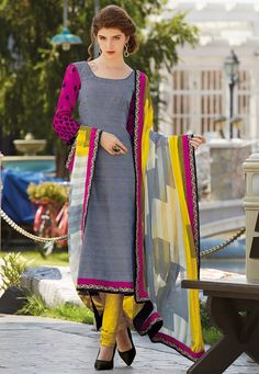 Black and White Art Bhagalpuri Silk Churidar Kameez Online Shopping: KWY695