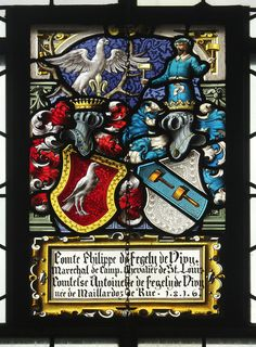 Heraldic glass in the parish church of St. Maurice Church at Barberêche, Fribourg, Switzerland