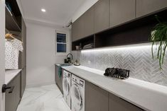 The Block reveals hallway, laundry & powder room - The Interiors Addict The Block Australia, Laundry Powder, Modern Laundry Rooms, Laundry Room Inspiration, Laundry Room Design, Laundry Decor, Laundry Area, Bohemian Style Bedrooms, Cupboard Storage