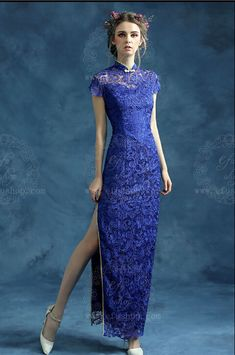 Blue lace cheongsam qipao for Emily                                                                                                                                                                                 More